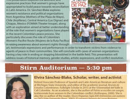 Event flyer featuring a photo of a crowd marching in protest and a headshot of Elvira Sánchez-Blake