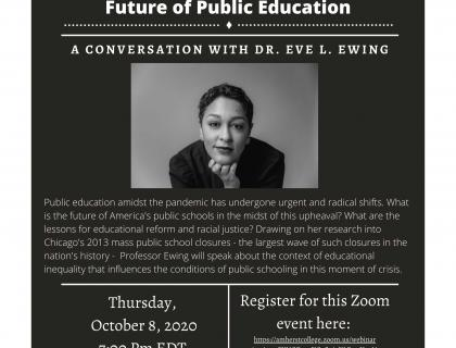 Event poster featuring a black-and-white headshot of Eve Ewing