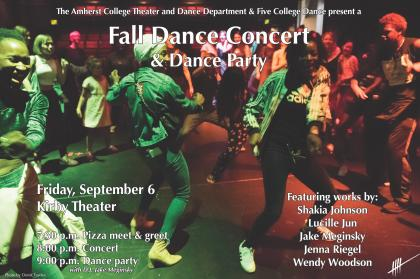 Fall Dance Concert poster featuring a photo of a crowd of people dancing