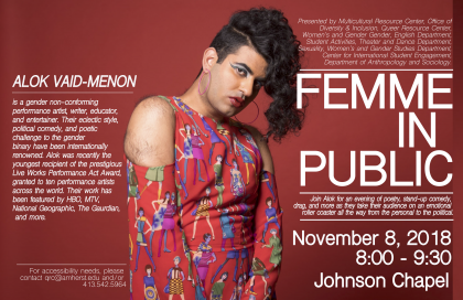 """Femme in Public"" event poster featuring a photo of Alok Vaid-Menon"