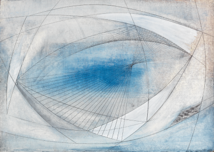 An abstract image in blue, white and gray