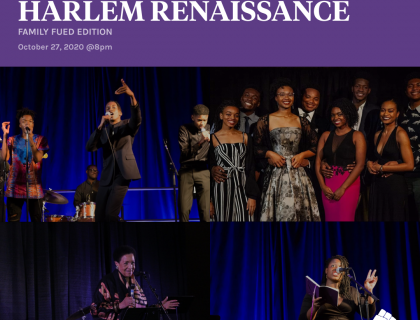 This poster displays images of past performances at Harlem Renaissance along with the date and time of the event.