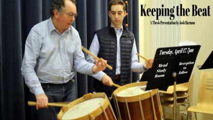 Event poster with a photo of two men playing snare drums in front of a music stand