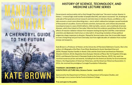 "Event poster showing ""Manual for Survival"" book cover"