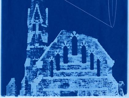 Image on blue suggesting a chapel with a cone shape projecting from the steeple