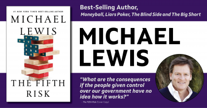 "Event banner showing ""The Fifth Risk"" book cover and a photo of Michael Lewis"