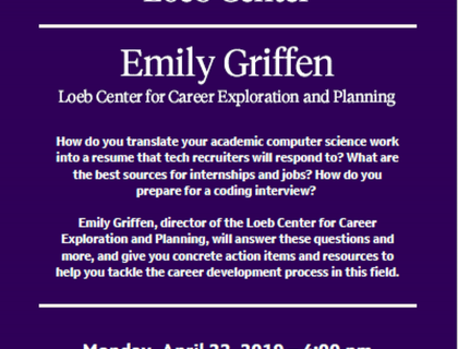 Preparing for Careers in Technology with the Loeb Center  with Emily Griffen, Director of the Loeb Center for Career Exploration and Planning