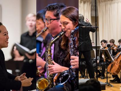 Dr. Arianne Abela, Jazz Ensemble saxophones, Mark Lane Swanson and the ASO