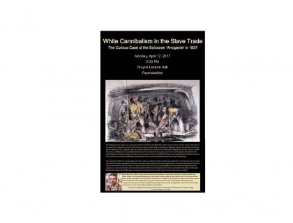 Event poster featuring an illustration of slaves and slave traders, as well as a small photo of Manuel Barcia