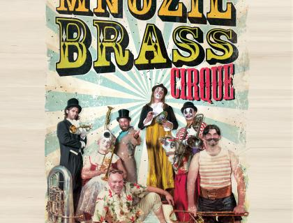 Event poster showing members of Mnozil Brass dressed as old-fashioned circus performers