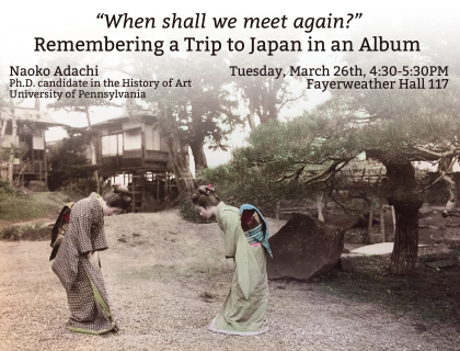 Event flier featuring color photograph of two women in kimono bowing to each other outdoors