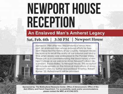 Event poster-- background image is a black-and-white photo of Newport House