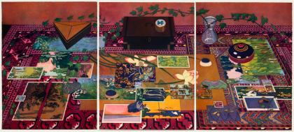 Brightly colored triptych depicting an ornately patterned rug with various objects arranged on it
