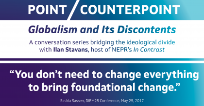 "Point/Counterpoint banner image with a quote from Saskia Sassen: ""You don't need to change everything to bring foundational change."""