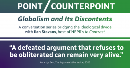 "Amartya Sen banner image showing the quote ""A defeated argument that refuses to be obliterated can remain very alive."""
