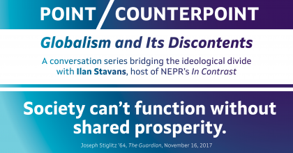 """Event banner showing a quote from Joseph Stiglitz '64: """"Society can't function without shared prosperity."""""""