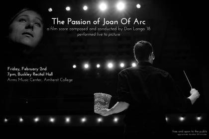 "Black-and-white event poster showing Langa holding a conductor's stick and bucket of popcorn, as well as an actress's face from ""The Passion of Joan of Arc"""