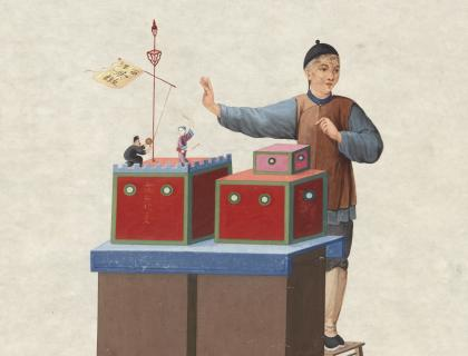 """Illustration of a Chinese man with a """"Peepbox"""""""