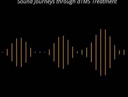 Black background with yellow digital sound waves