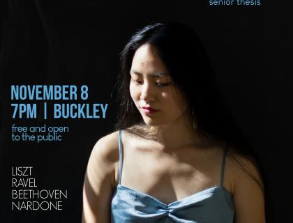 Event poster featuring a photo of Faith Wen '20