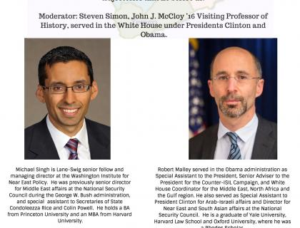 Event poster featuring photos of Singh and Malley and a map of the Middle East