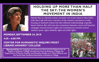 Event poster featuring photos of Nandini Rao and a crowd of protesters