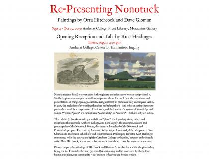 """Poster describes the """"Re-Presenting Nonotuck: Paintings by David Gloman and Orra White Hitchcock"""" exhibit in Frost Library"""