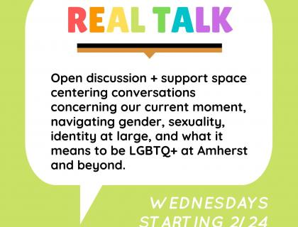 Real Talk Poster, Pale Lime green background, title is in QTPOC flag colors, other text in black or white.