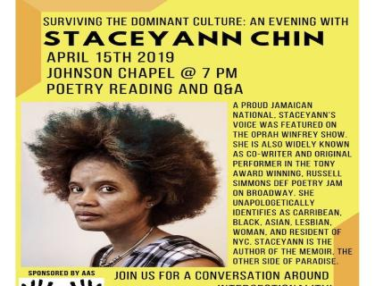 Event poster showing a headshot of Staceyann Chin