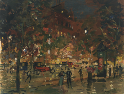 Impressionistic painting of people, vehicles and trees on a city street