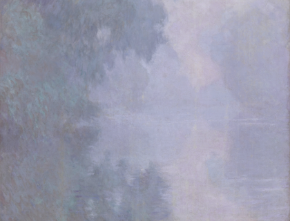 Detail from the famous Impressionist painting, showing trees reflected in water
