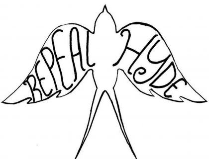 "Outline of a bird with the words ""REPEAL HYDE"" on the wings"