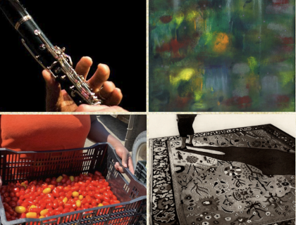 Photo of Darryl Harper '90 playing clarinet; abstract painting by Naya Gabriel; produce from Book & Plow Farm; and black-and-white print by Kevin Pomerleau