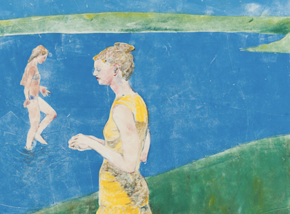Abstract print featuring person in yellow in the foreground; person in swimsuit emerging from blue and green in background