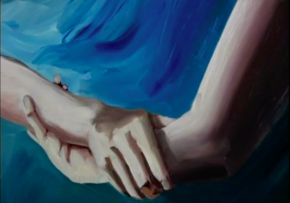 An oil painting depicts two hands grasping each other against an oceanic background