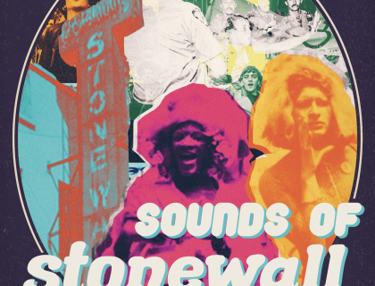Sounds of Stonewall Logo, featuring graphics of facade of Stonewall Inn and Marsha Johnson