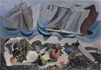 Abstract still life of fruits, with fish and seascape.