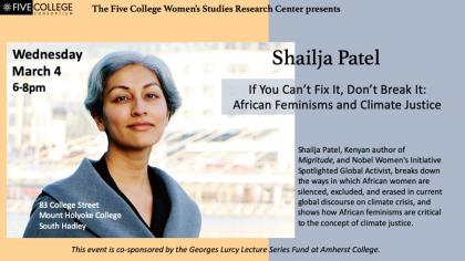 Event poster featuring a photo of Shailja Patel