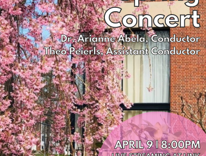 Event poster showing a tree with bright pink blossoms outside the Arms Music Center