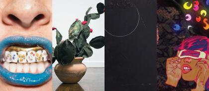 Four photographs side-by-side: A close-up photo of a nose and mouth with blue lipstick; a photo of a sculpture of a Nopal cactus; a photo of a mostly black square painting; and a graphic image that collages illustrations and photos on a black floral background