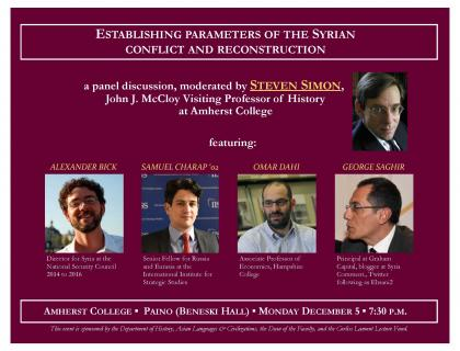 Event poster featuring photos of the panel moderator and four participants