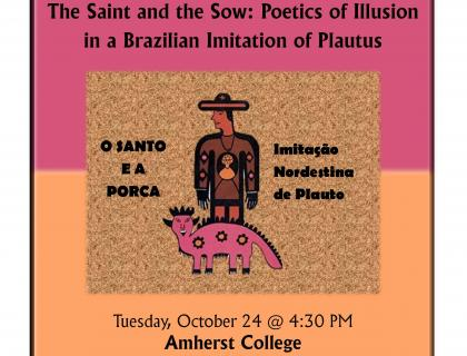 Event flyer featuring a stylized drawing of a human figure standing behind a pink sow