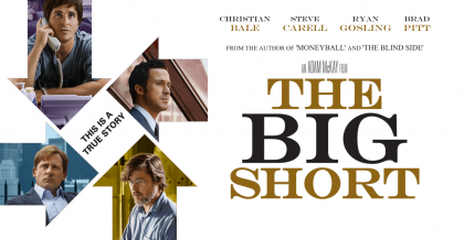 """The Big Short"" poster showing four actors' faces around the words ""THIS IS A TRUE STORY"""