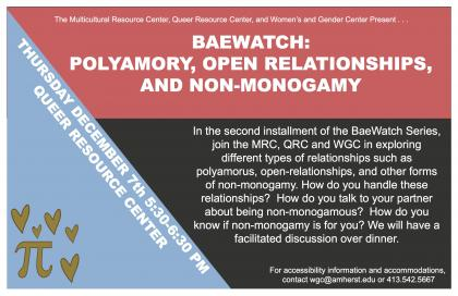 Baewatch: polyamory, open relationships and non-monogamy. Thursday December 7 5:30PM-6:30PM