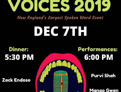 Event poster featuring an illustration of an open mouth behind a microphone. The poster advertises dinner at 5:30 p.m.; performances at 6 p.m.; and the names of featured poets: Zack Endoso, Jasmine Mans, Gretchen Carvajal, Purvi Shah, Mango Gwen, Fiza Jihan and Ari Perezdiez