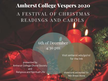 Amherst College Vespers 2020 poster, featuring text on a background of red ribbon, red candles, pinecones and pine boughs