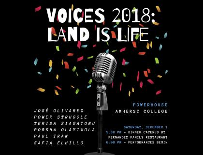 Voices poster with event details, microphone and confetti