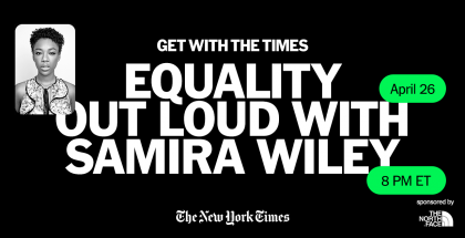 """Black background with the words """"Equality Out Loud with Samira Wiley"""" centered in white. A black and white photo of actress Samira Wiley is on the left. Green text message bubbles indicate the time and date of the event."""