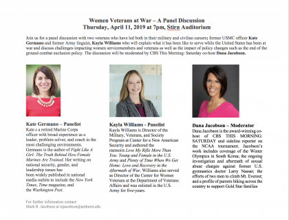 Event flyer featuring headshots and brief biographies of Kate Germano, Kayla Williams and Dana Jacobson