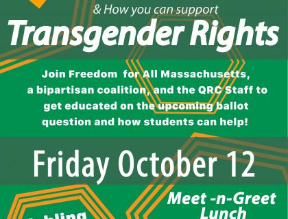 Yes on 3 How you can support Transgender Rights poster, image descriptions: green background, yellow graphic elements surrounding some text in white font. header is Yes on 3 campaign Logo